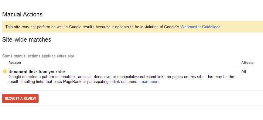 Google penalty for link spam
