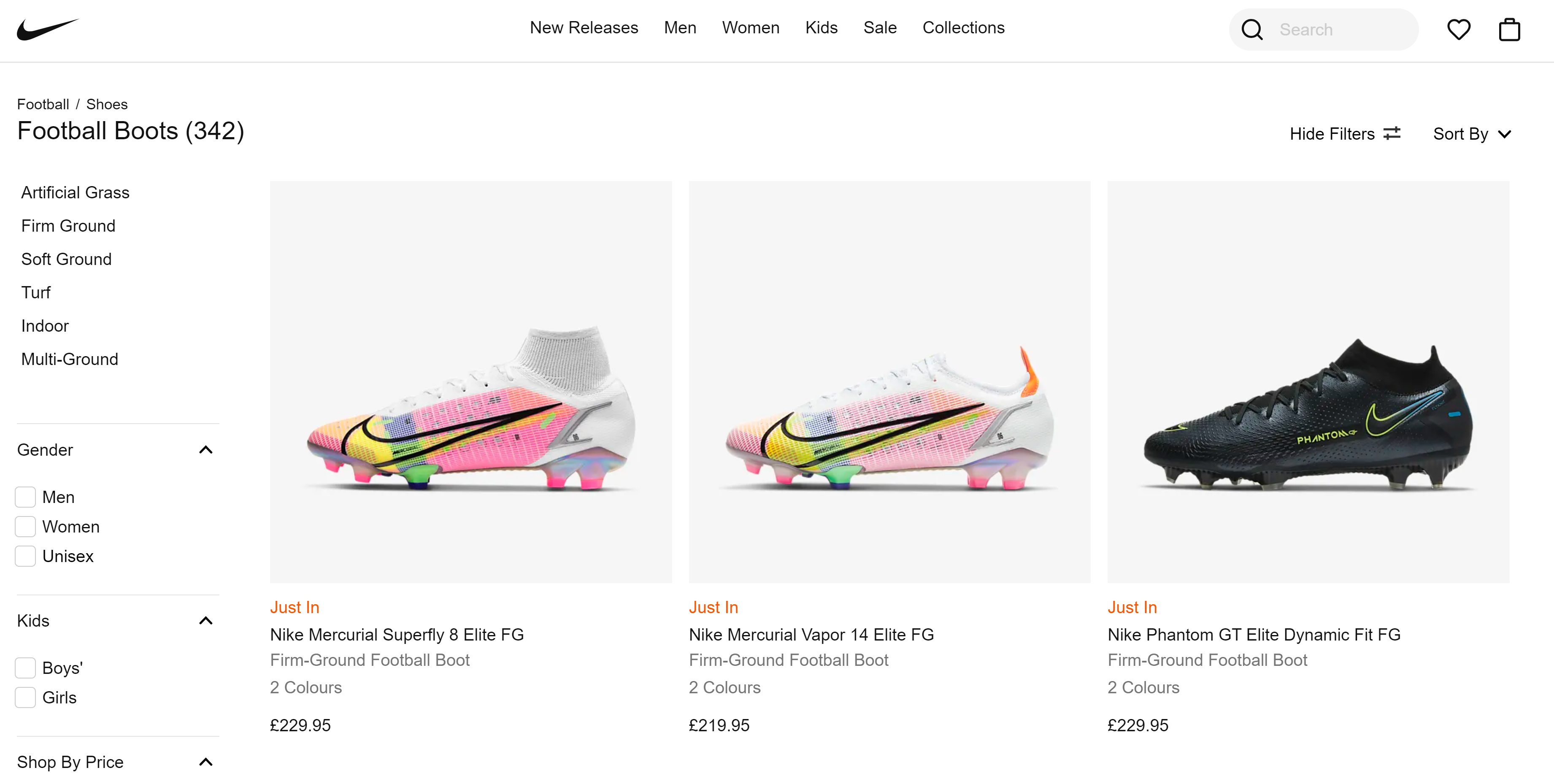 nike faceted navigation example